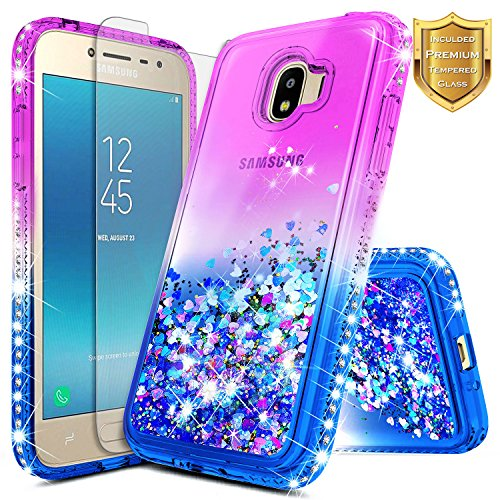 Galaxy J2 Pro Case w/[Tempered Glass Screen Protector] NageBee Glitter Liquid Quicksand Waterfall Flowing Sparkle Diamond Cute Case for Galaxy J2 Pro (2018) / Grand Prime Pro (2018) -Purple/Blue (Waterfall Grande Glass Clear)