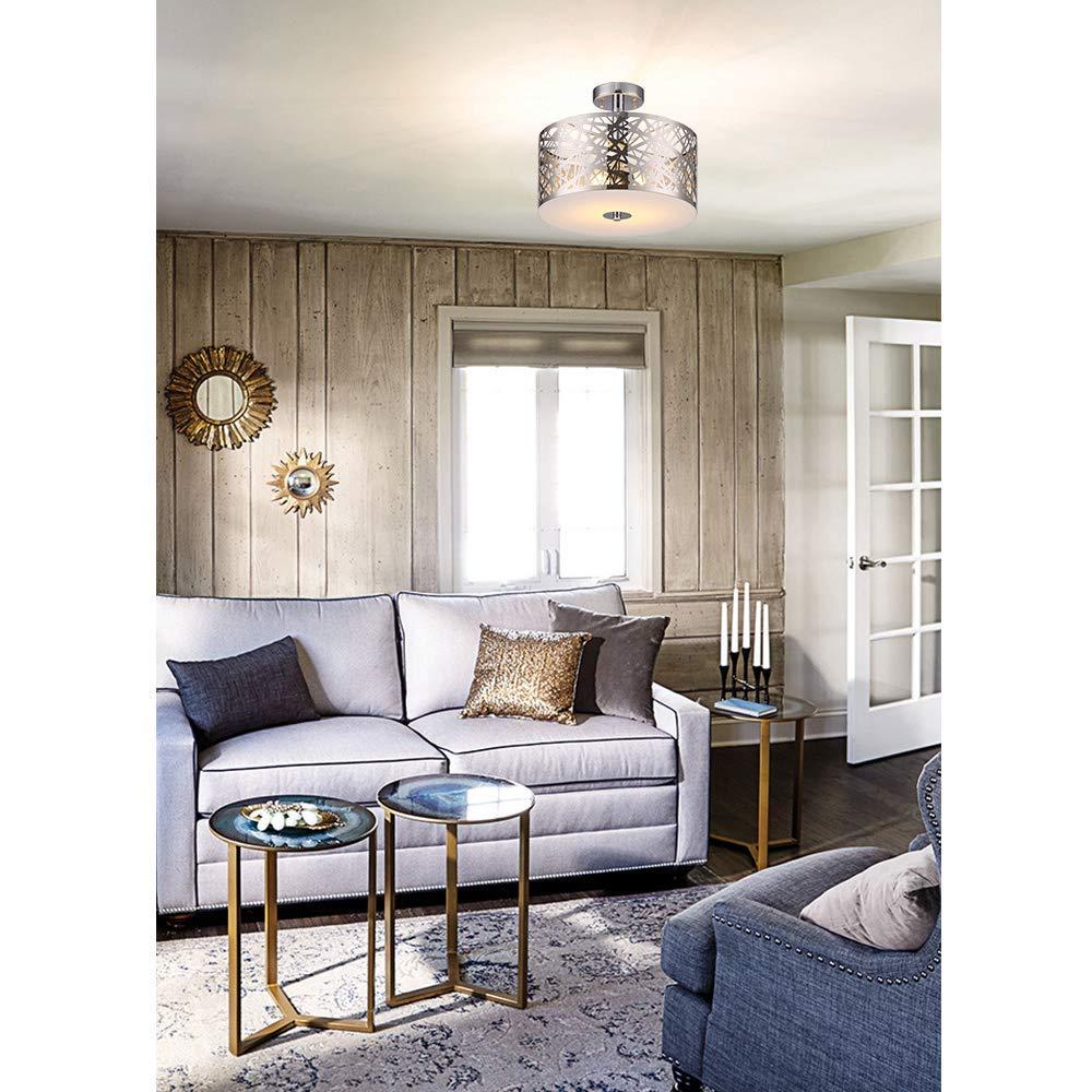 Wtape Vintage 2 Light Crystal Chrome Finish Semi-Flush Mount Ceiling Light Lighting Fixture with Metal Shade for Living Room Bedroom Dining