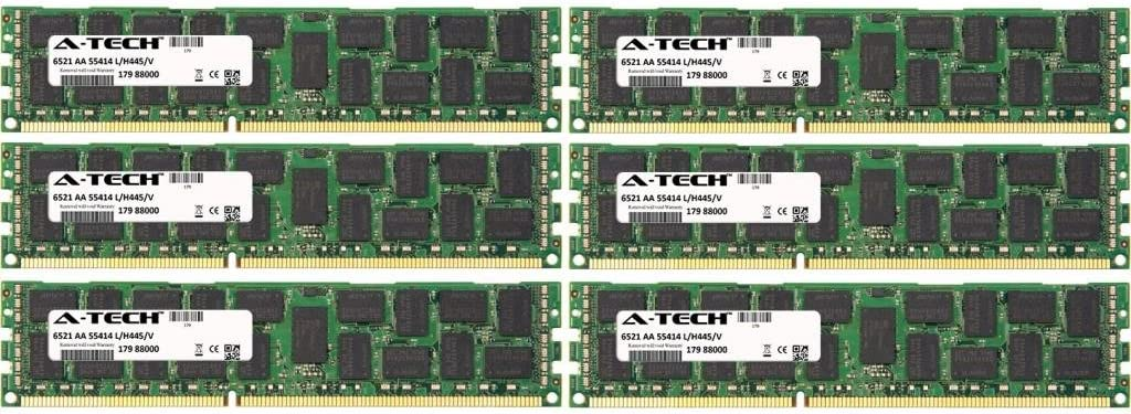 48GB KIT (6 x 8GB) for Dell Precision Workstation Series R5500 Rack T5500 (ECC Registered) T7500. DIMM DDR3 ECC Registered PC3-10600R 1333MHz Dual Rank Server Ram Memory. Genuine A-Tech Brand.