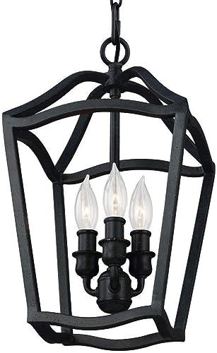 Feiss F2974 3AF Yarmouth Pendant Lighting Lantern, Iron, 3-Light 9 Dia x 15 H 180watts