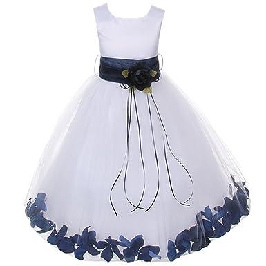 4bc8106048d Kid s Dream Little Girls White Satin Navy Petal Sash Flower Girl Dress 2