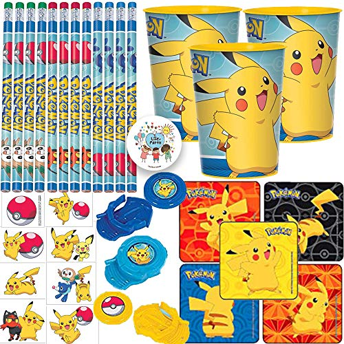 Pokemon Birthday Party Favor Pack And Goodie Bag Fillers For 12 With Pencils, Favor Cups, Tattoos, Stickers, Disc Shooters, and Exclusive Pin -