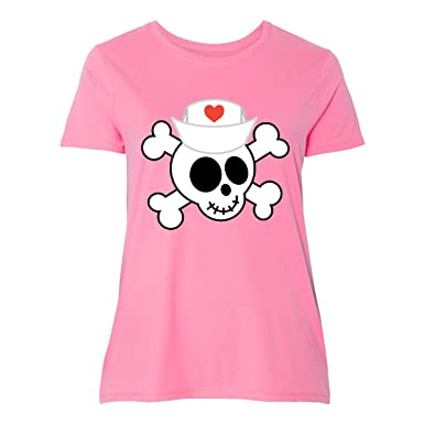 65c36058389 Amazon.com  inktastic - Nurse Skull Funny Women s Plus Size T-Shirt ...