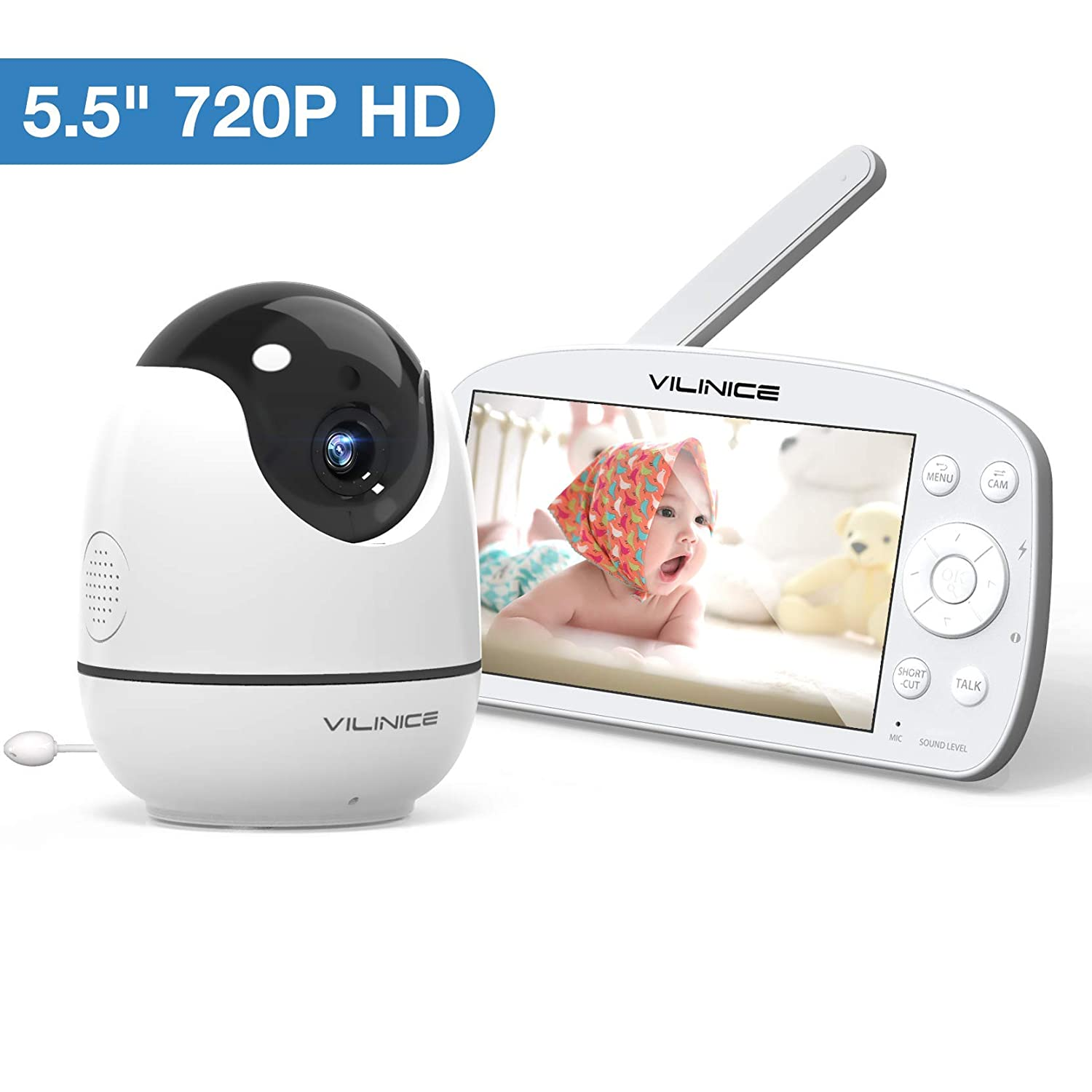 """Baby Monitor, VILINICE 720P HD Video Baby Monitor Large 5.5"""" Display with Camera and Audio Monitor, Night Vision, Two-Way Audio, Temperature Baby Monitor, VOX Voice and Lullabies"""