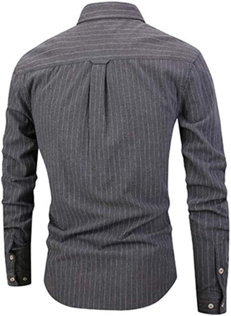 BU2H Men Woven Pinstripe Slim Casual Vintage Long Sleeve Button Down Shirts