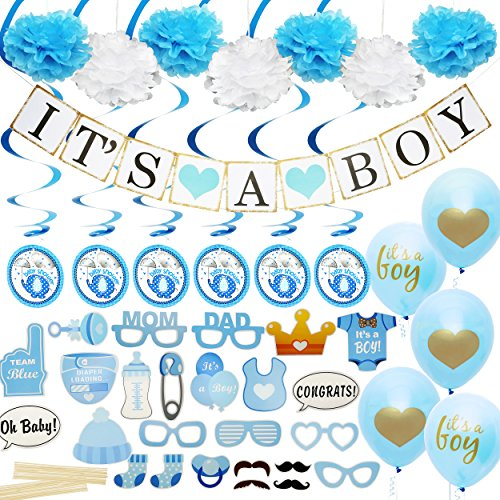 Baby Shower Decorations for Boy - Includes matching 'Its A Boy' Banner & Balloons, Cute Photo Booth Props, Blue & White Flower Decor, AND MORE! Perfect All In One Decoration Bundle]()