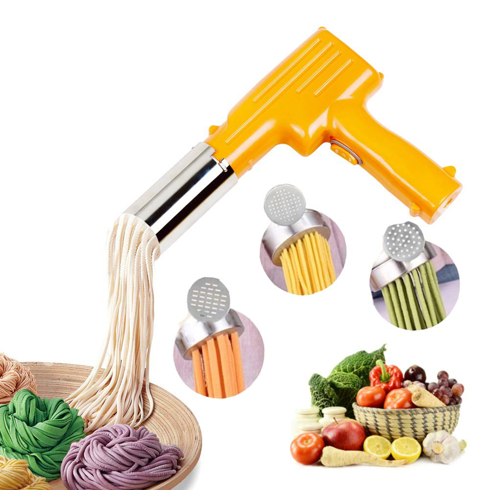 Pasta Maker Handheld Automatic Noddle Maker Press Vegetables Juice with 3 Pressing Moulds for Making Spaghetti Fettuccine Noodles TACBASE