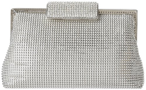Whiting & Davis Bubble Mesh and Crystal Clutch,Silver,one size by Whiting & Davis