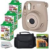 Fujifilm Instax Mini 8+ (Cocoa)Instant Film Camera W/ Self Shot Mirror + Fujifilm Instax Mini 3 Pack Instant Film(60 Shots) + Case + Batteries Top Kit - International Version (No Warranty)