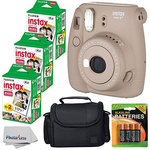 Fujifilm Instax Mini 8+ (Cocoa)Instant Film Camera W/ Self Shot Mirror + Fujifilm Instax Mini 3 Pack Instant Film(60 Shots) + Case + Batteries Top Kit - International Version (No Warranty) by PHOTO4LESS