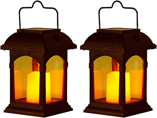 Clihere Solar Lantern Lights,Waterproof Hanging Solar Lanterns Flickering Retro Candle Effect Hanging Lights Solar Outdoor Decoration Lighting Solar Powered Auto On Off for Garden,Yard, Patio 2 Pack