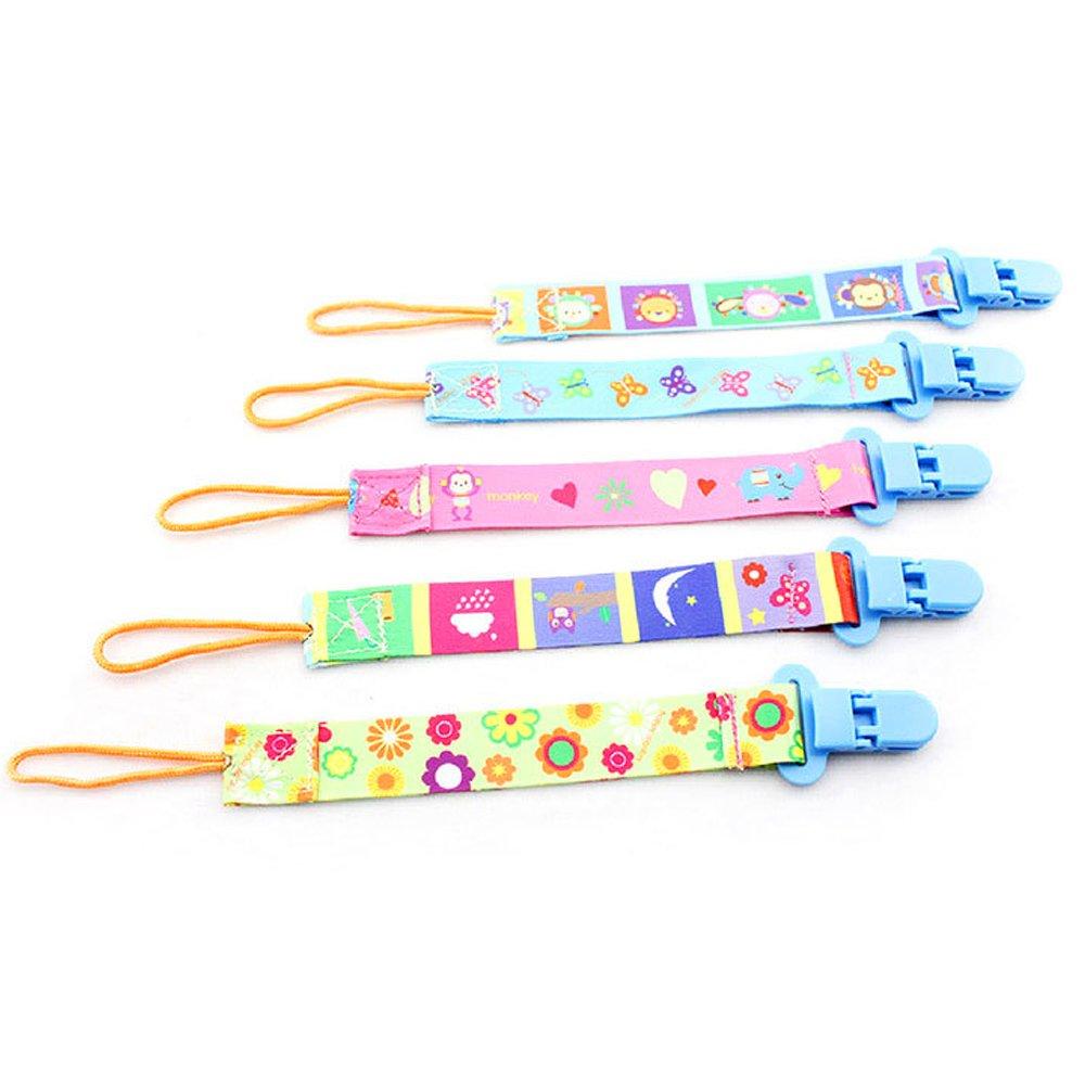 isuper 5/Pack Chupete Cadenas con clip para beb/é ni/ño y ni/ña Chupete de cinta de pl/ástico beidseitger Impresi/ón Baby Chupete banda