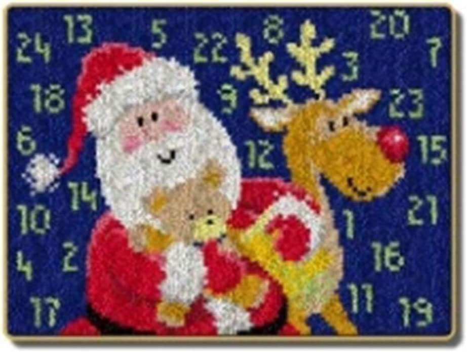 17.3 inch Latch Hook Kit Christmas Latch Rug Kit Pattern Printed Crocheting Rug Beginner Home Embroidery Rug,A,23.2