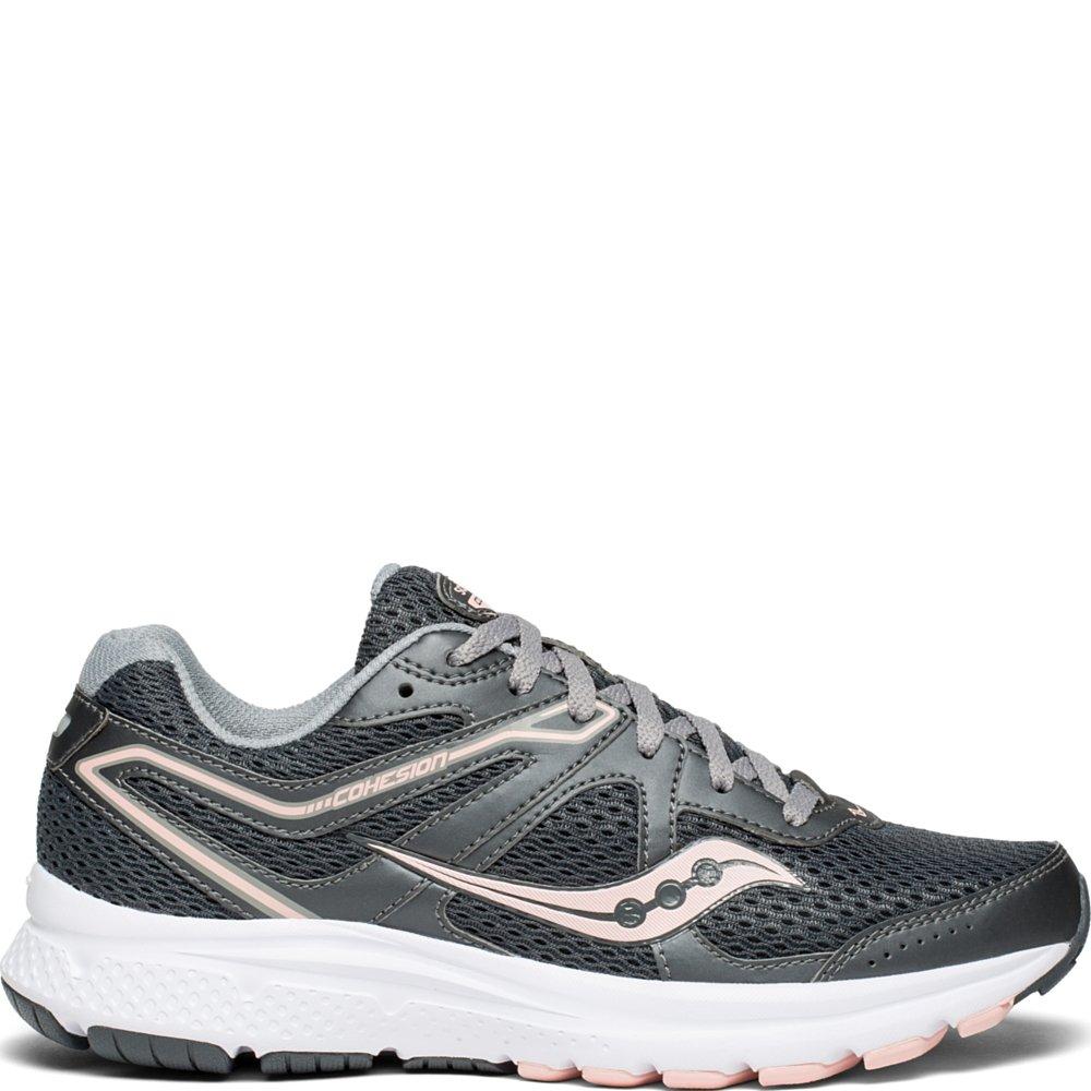 Saucony Women's Cohesion 11 Sneaker, Charcoal/Peach, 8 M US