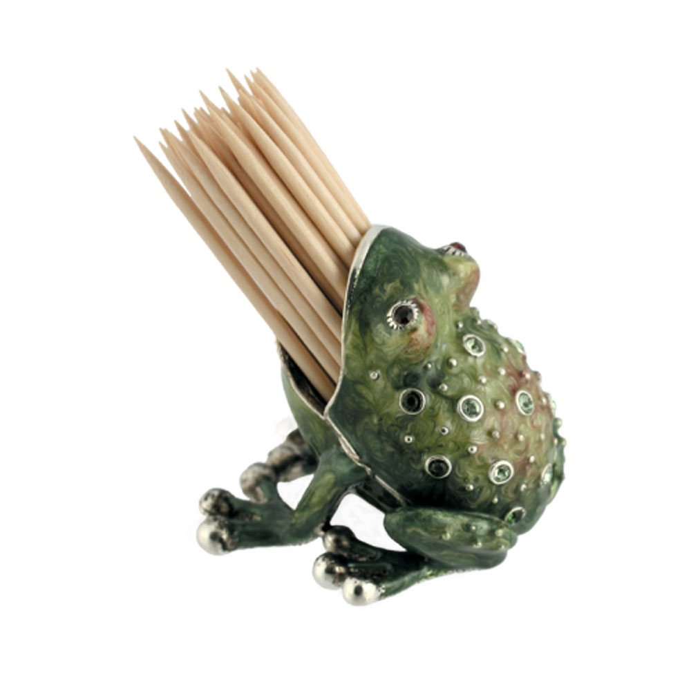 Quest Collection Green Pewter Frog Toothpick Holder