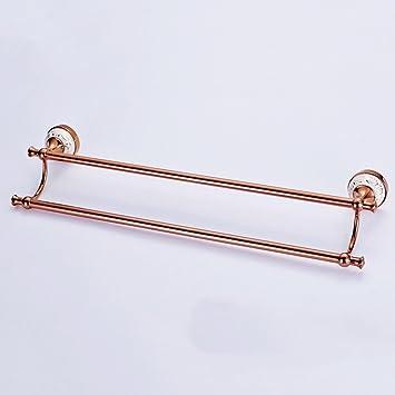 ZHAS Toallas Europeo Cobre Simple Toallero Doble Palanca Toalla de baño Toalla de Barras de Cobre Colgando (Multi-Tamaño para Elegir) Accesorios de baño ...