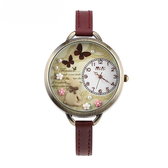 ufengke® Mini antiguos niños de la manera reloj de pulsera-mariposa conejo flor tema retro vendimia: Amazon.es: Relojes