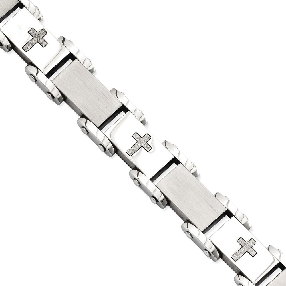 ICE CARATS Stainless Steel Crosses 8.75in Bracelet 8.75 Inch Contemporary Religious