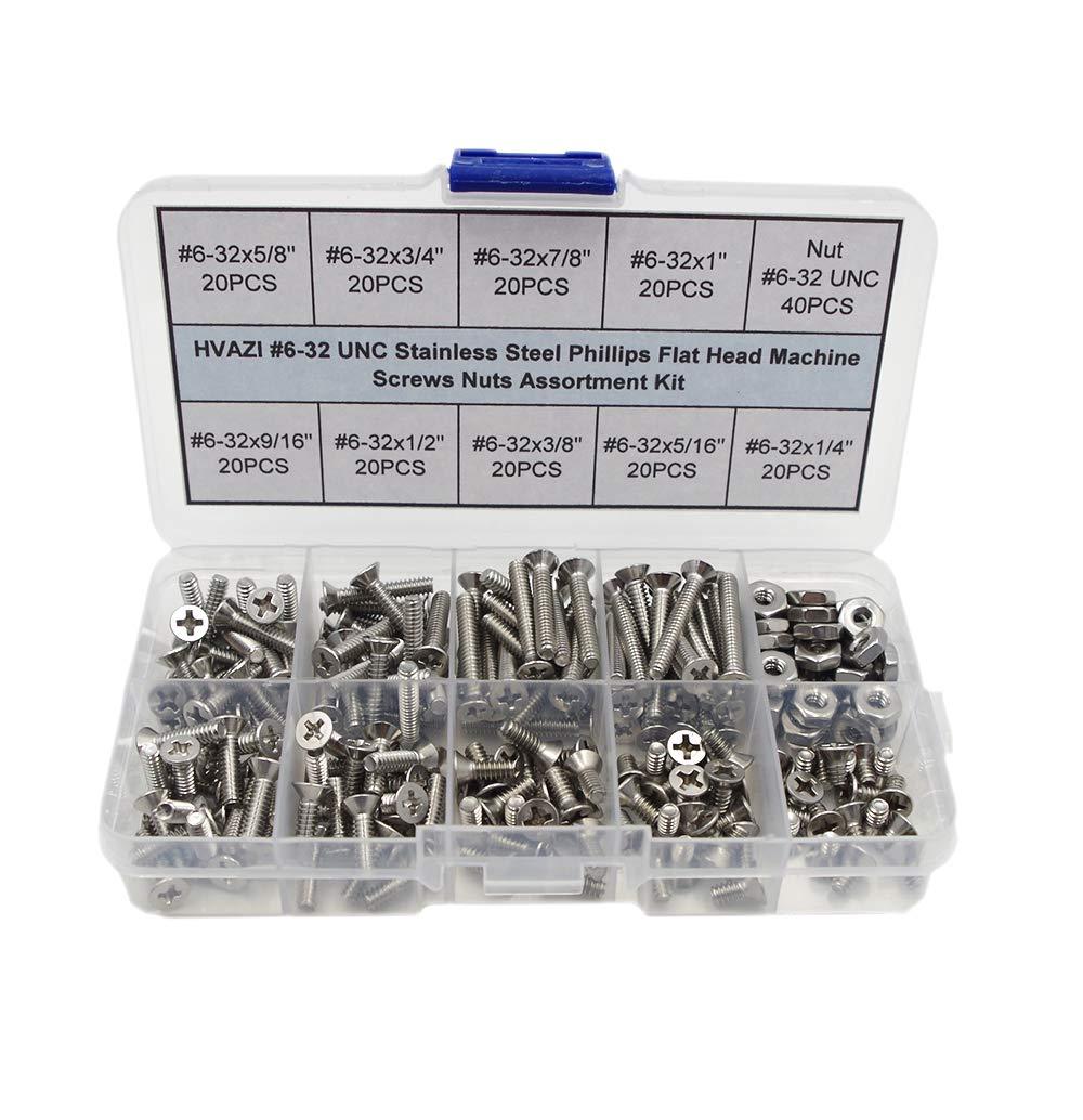 HVAZI #6-32 UNC Stainless Steel Phillips Flat Head Machine Screws Nuts Assortment Kit