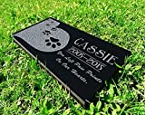 Heart Paws You Left Paw Prints on Our Hearts Pet Grave Markers Memorial Stones Personalized Headstone Absolute Black Granite Garden Plaque Engraved with Dog Cat Name Dates For Sale