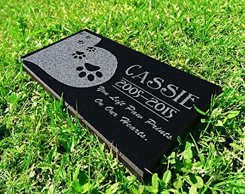 Heart Paws You Left Paw Prints on Our Hearts Pet Grave Markers Memorial Stones Personalized Headstone Absolute Black Granite Garden Plaque Engraved with Dog Cat Name Dates