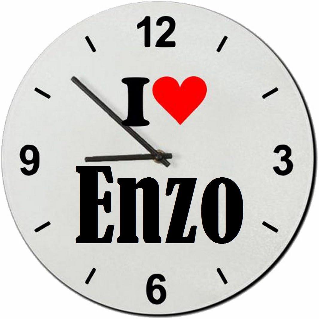 Druckerlebnis24 Exclusivo: Vidrio de Reloj I Love Enzo una Gran Idea para un Regalo para su Pareja, colegas y Muchos más! - Reloj, Regaluhr, Regalo, Amo, Made in Germany.