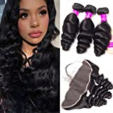 Tinashe 3 Bundles Brazilian Virgin Hair Loose Wave With Frontal 8A Unprocessed Human Hair Wave Natural Color Can be Dyed and Bleached (16 18 20+14 free part) For Sale