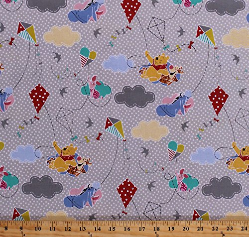 Cotton Pooh Bear Winnie The Pooh Piglet Tigger Eeyore Kites Kite Flying Hearts Clouds Birds Summer Polka Dot Kids Children's Gray Cotton Fabric Print by The Yard (62870-6510715)