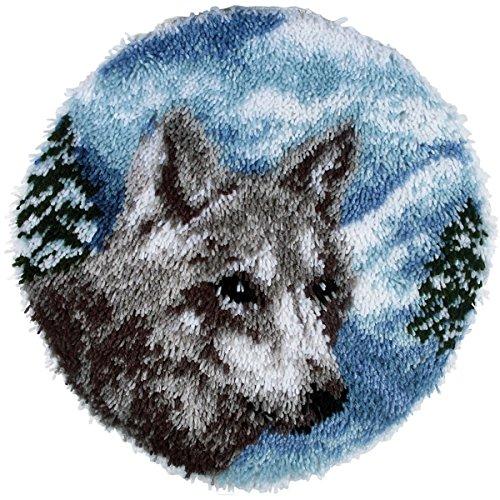 (Spinrite Wonderart Latch Hook Kit, 24-Inch Round, Lone Wolf)
