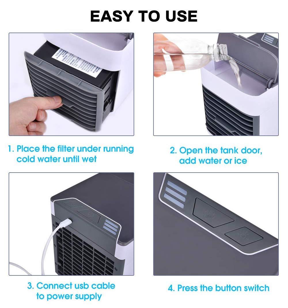 Climatiseur Portable Refroidisseur Dair Portable 3 Vitesses USB Ventilateur 3 EN 1 R/églable Air Climatiseur Mini Air Refroidisseur Humidificateur Purificateur 7 LED Couleurs