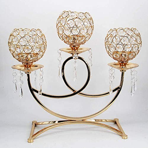 Esharey 3-Arms Crystal Metal Candle Holder Candelabra