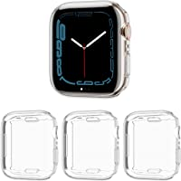 Cuteey 3 Pack Compatible for Apple Watch Series 7 45mm Screen Protector Case, All Round Full Protection TPU Cover Bumper…