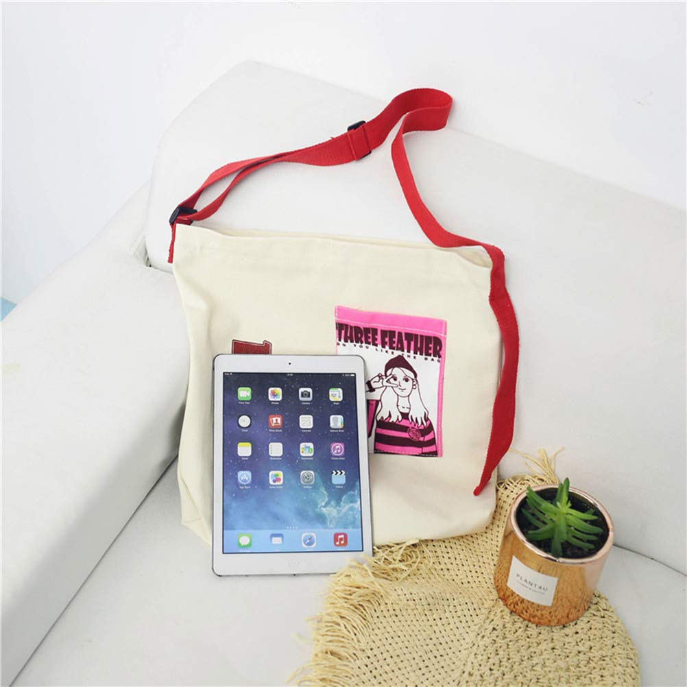 Fashion Printing Crossbody Bag for School Dating Shopping Daypack Travel Bag TENDYCOCO Canvas Shoulder Bag White Girls