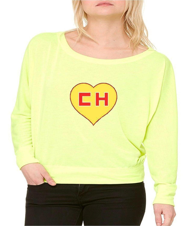 El Chapulin Colorado El Chavo Long-Sleeve Chespirito Flowy Shirt Neon Yellow 1064