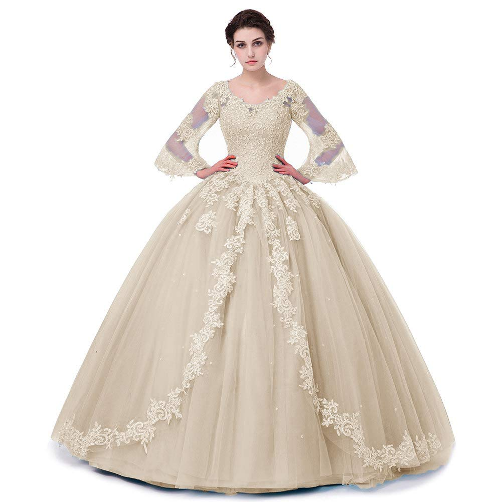 Champagne APXPF Women's Full Sleeves Lace Quinceanera Dresses Formal Prom Party Gown