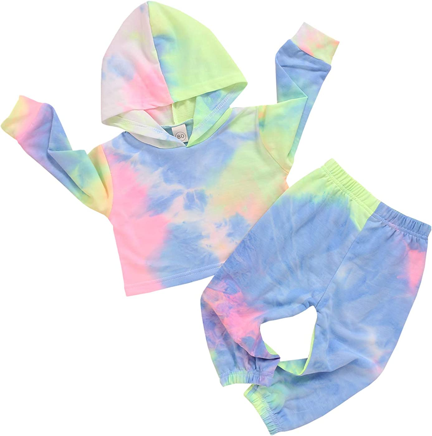 MSemis Toddler Baby Girls Tie Dye Clothes Set Gym Yoga Outfits Tracksuit Long Sleeve Ruffle Pullover Top Sweatpants Set