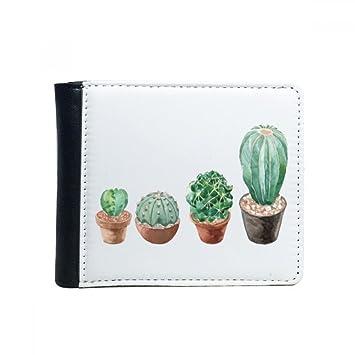 DIYthinker Ilustración suculentas de la Planta en Maceta Cactus tirón Plegable de imitación de la Carpeta de Cuero de múltiples Funciones de la Tarjeta de ...