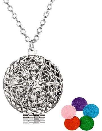 Healifty relicario difusor Colgante redondo del medall¨®n del collar pendiente de Aromatherapy del