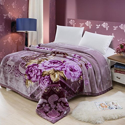 Znzbzt Wedding red blanket thick-pile carpet in winter cover wedding celebration red double blanket ,180X220-6 catty, Purple, romantic and intimate by Znzbzt