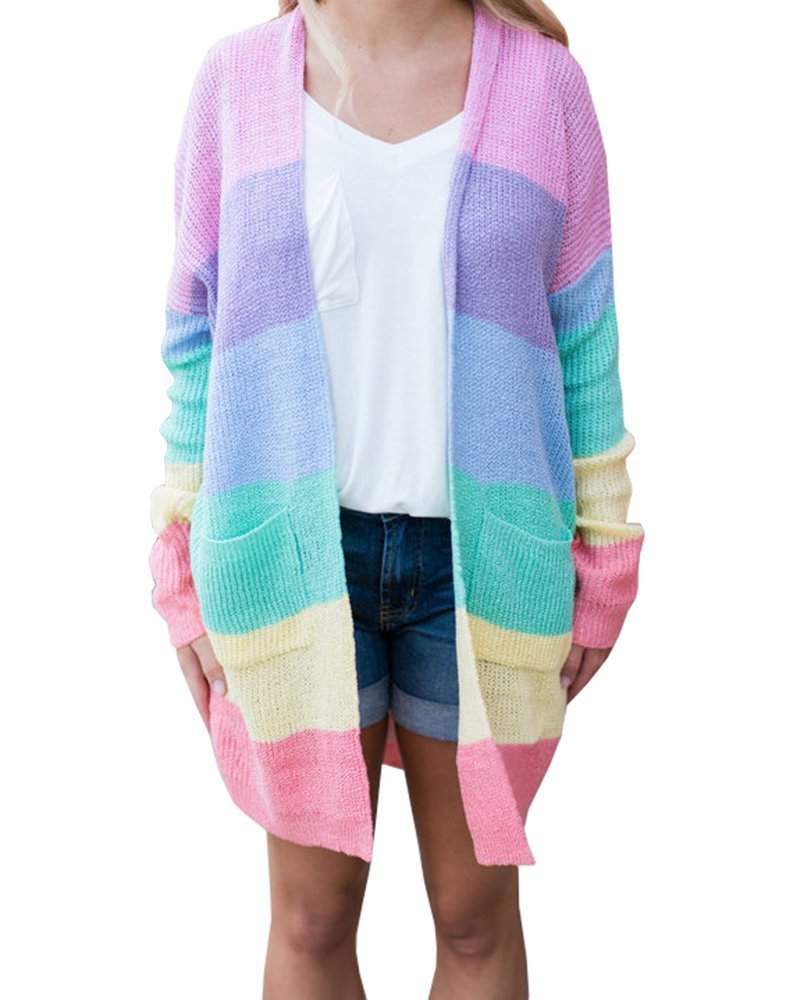 Rotita Women Rainbow Knitted Long Draped Cardigans Striped Oversized Lightweight Sweaters with Pockets