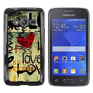 TopCaseStore / la caja del caucho duro de la cubierta de protección de la piel - Love Grunge Heart - Samsung Galaxy Ace 4 G313 SM-G313F
