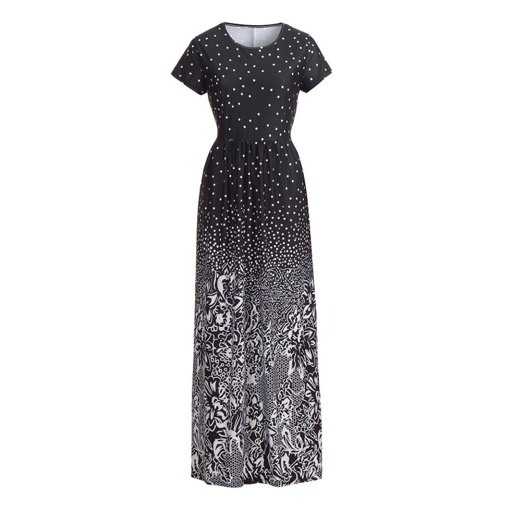 Rambling Popular Women's Sleeveless/Short Sleeve Maxi Dress Floral Print Causal Long Dress with Pocket by Rambling (Image #4)