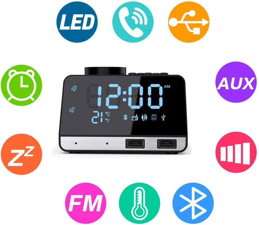 Flightbird Bluetooth Despertador Radio, FM 4.2 Pulgadas Reloj ...