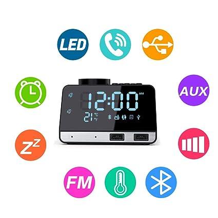 Flightbird Bluetooth Despertador Radio, FM 4.2 Pulgadas Reloj Digital Alarma con Dual USB Puertos Pantalla