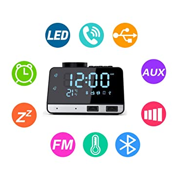 Flightbird Bluetooth Despertador Radio, FM 4.2 Pulgadas Reloj Digital Alarma con Dual USB Puertos Pantalla LCD Regulable y Termómetro de Interio ...