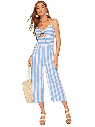 9008e5993cd3 SweatyRocks Women s Sexy V Neck Spaghetti Strap Knot Front Long Jumpsuit  Romper Blue White S