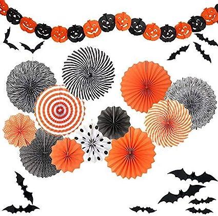 Amazon Com Yunison Halloween 12pc Paper Fan Decorations Kit Diy Ceiling Hanging Paper Fans Smile Pumpkin Party Banner 24pc 3d Bat Wall Health Personal Care
