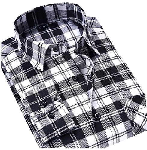SportsX Mens Long Sleeve Shirt Hip-Hop Fit Plus Size Grid Dress Shirts 1 3XL