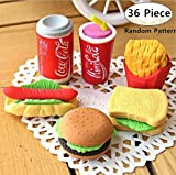 Magnolora 36 Piece Mini Cute Food Shape Rubber Pencil Eraser Stationery Erasers School Office Supplies Gift for Children, Kids, Students