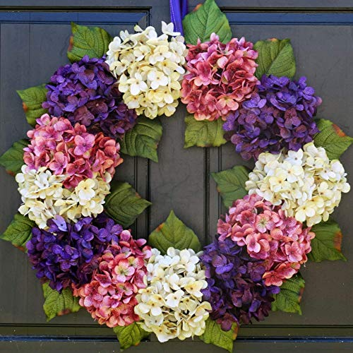 Artificial Hydrangea Spring Easter Wreath for Front Door Decor; Purple, Cream and Pink; Small - Extra Large Sizes from New England Home Accents